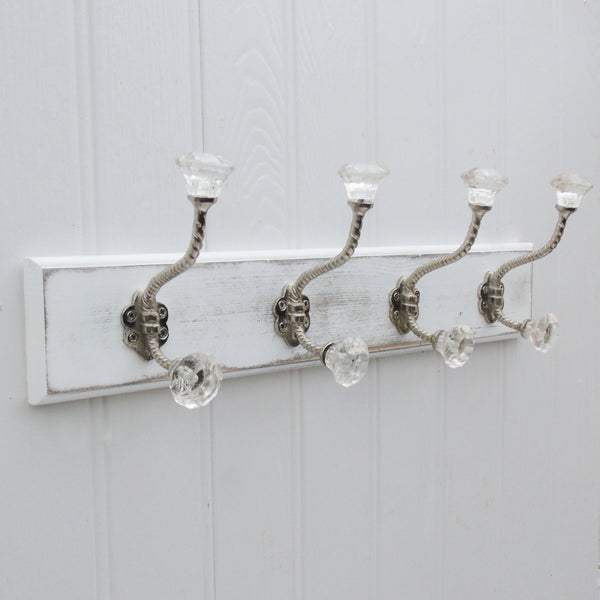 A Shabby Chic Wooden Coat Hook Rack With 4 Clear Glass