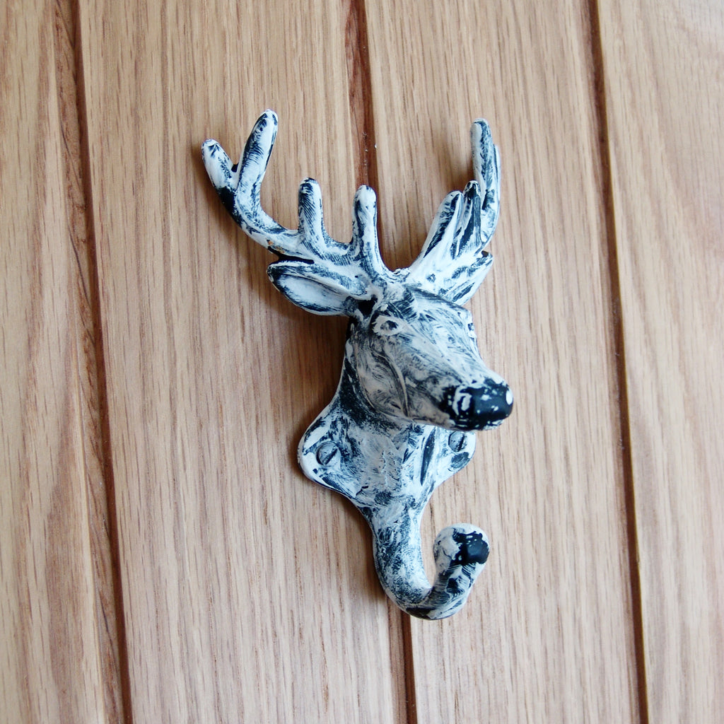 A Rustic Distressed White Cast Iron Wall Hook - Stags Deer Head