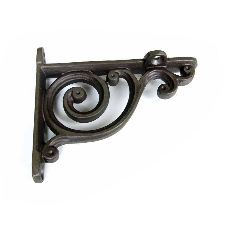 Vintage Cast Iron Metal Shelf Bracket - Small Scroll
