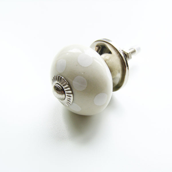 Kitchen Cabinet Drawer Knob - Cream White Spots