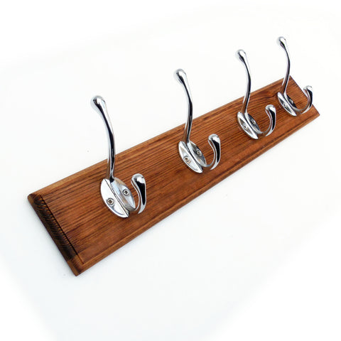 Vintage Style Coat Rack Dark Brown with 4 Chrome Cast Iron Hooks
