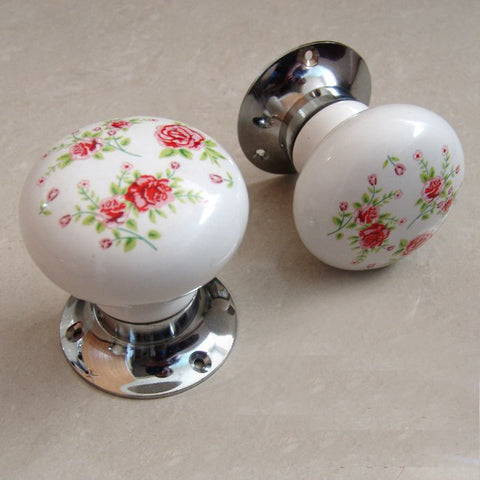 Period Vintage Style Floral Print White Ceramic Round Door Knobs Handles - Pair
