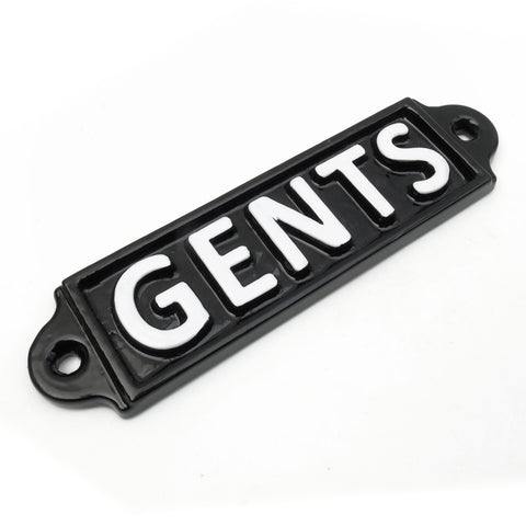 A 'GENTS' Vintage Cast Iron Style Metal Sign Black & White