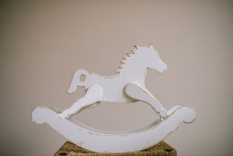 A small Shabby Chic Ornamental Rocking Horse - Childrens babys bedroom decor