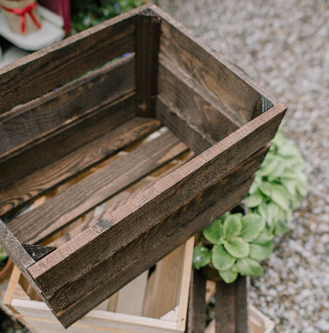 A vintage Style Dark Brown Rustic Wooden Fruit crate bushel box / Garden Planter Storage