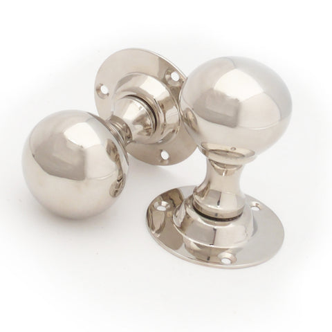 Victorian Period Polished Nickel Ball Round Door Handles Knobs