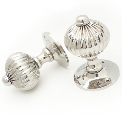 Regency Reeded Style Polished Nickel Door Handles Knobs