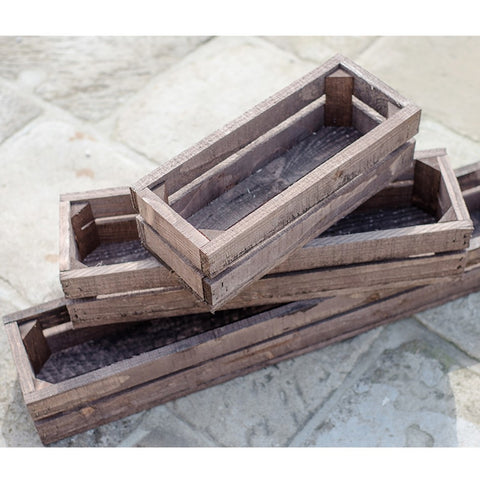 Brown Vintage Fruit Apple Crate Style Narrow Garden Planter Trough Flower pot container box tub