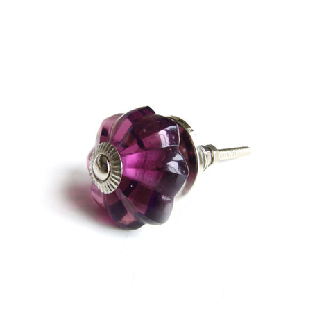 Glass Melon Knob - Antique Purple