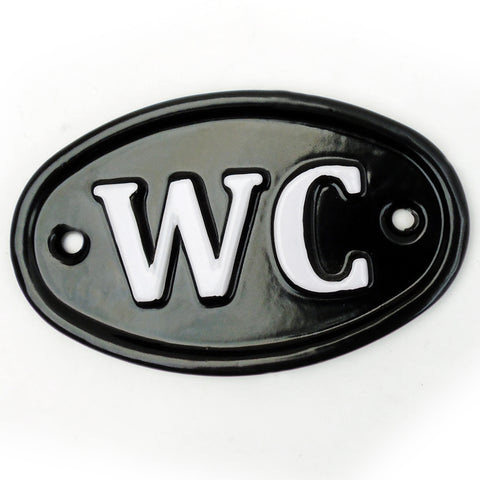 A Vintage Style WC Toilets Cast Metal Sign Black & White