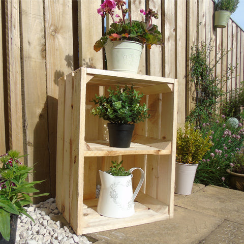 Vintage Apple Fruit Crates Bushel Boxes Wooden Garden Planters with a Shelf (Unpainted Wood)