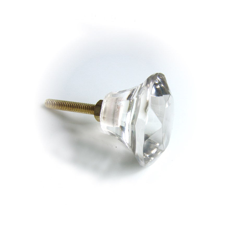 Glass Faceted Knob  - Clear Crystal