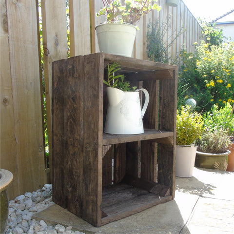 Vintage Apple Fruit Crates Bushel Boxes Wooden Garden Planters with a Shelf ( Dark Brown )