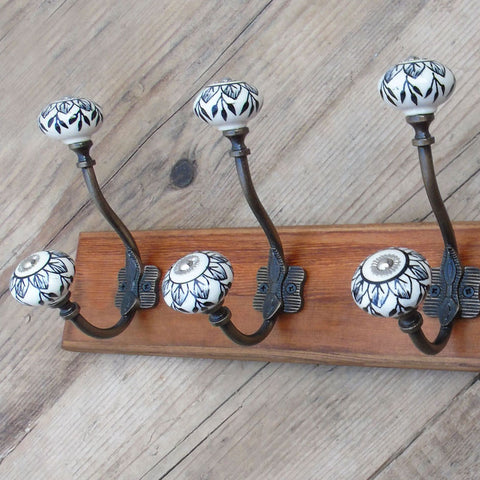 Vintage Rustic Wooden Coat Rack Dark Walnut with 4 Antique Brass Hand Painted Hooks