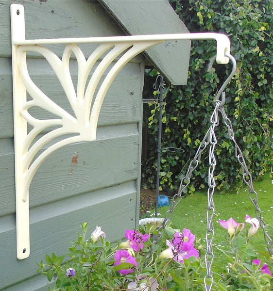 Large Ornate Metal Garden Wall Hanging Basket Bracket Support Planter Hanger - Cream