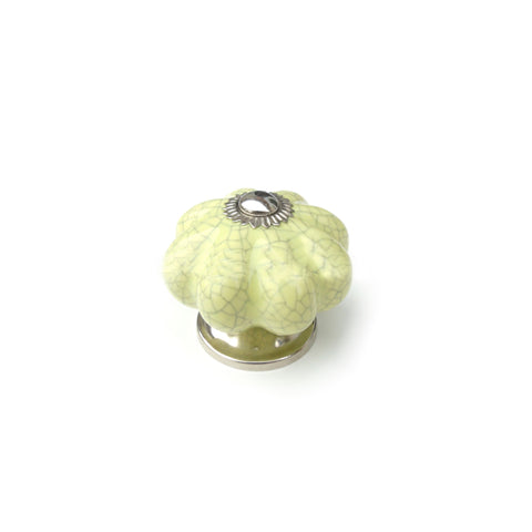 Light Green Crackle Ceramic knob -  Pumpkin shape