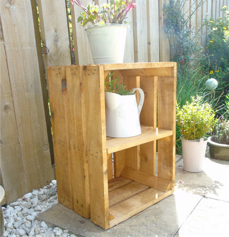 Vintage Apple Fruit Crates Bushel Boxes Wooden Garden Planters with a Shelf ( Light Golden Brown )
