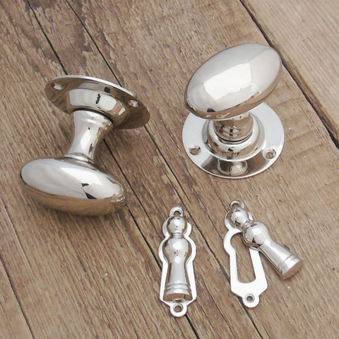 Victorian Polished Nickel Oval Door Handles Knobs & Lock Covers Escutcheons