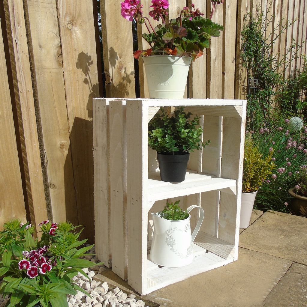 Vintage Apple Fruit Crates Bushel Boxes Wooden Garden Planters with a Shelf (White Wash painted)