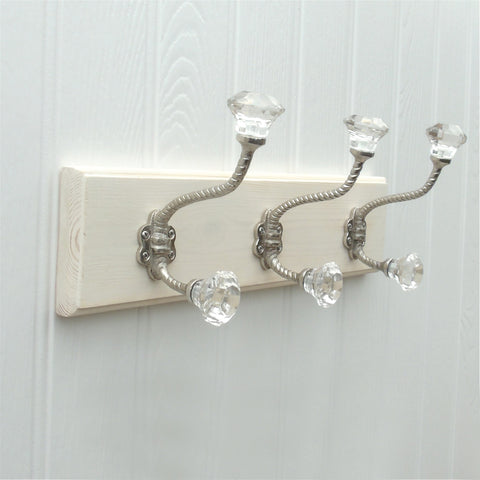 A Vintage Style Wooden Wall Storage Hook Coat Rack with 3 Clear Glass Hooks