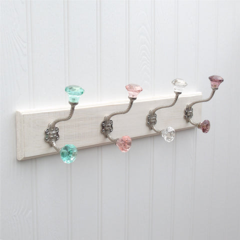 A Shabby Chic Wooden Coat Hook Rack with 40 Clear Glass Hooks Simple Vintage Style Coat Hook Rack With Shelf