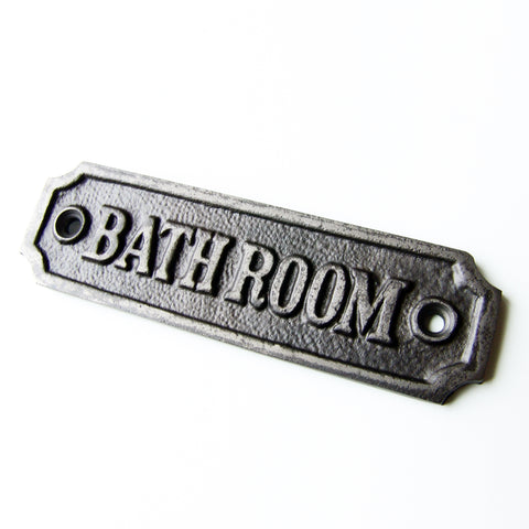 Vintage Style Cast Iron Bathroom Door Sign