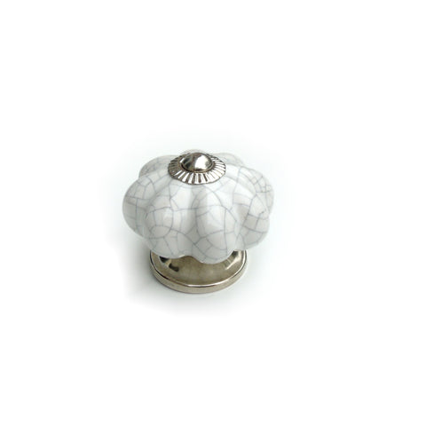 White Crackle Ceramic knob -  Pumpkin shape