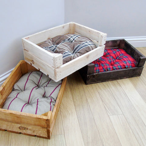 Small Wooden Crate Pet Dog Cat Kitten Bed House Cushion Mat Car Seat Travel Box