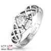 Claddagh ring with clear CZ heart on Celtin Knot band | Wholesale stainless steel rings - Jewelry