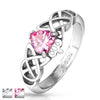Claddagh ring with pink CZ heart on Celtin Knot band | Wholesale stainless steel rings - Jewelry