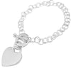 Rolo link bracelet with engravable heart shaped tag/pendant | Wholesale 925 Sterling Silver Jewelry & Accessories