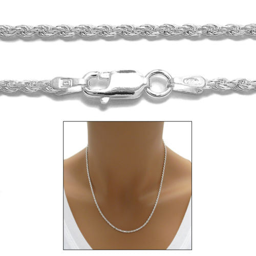 ef0f07a2769 Sterling Silver Diamond Cut Rope Chain Necklace 2.0mm (Gauge 040).  Available in 7 Lengths.