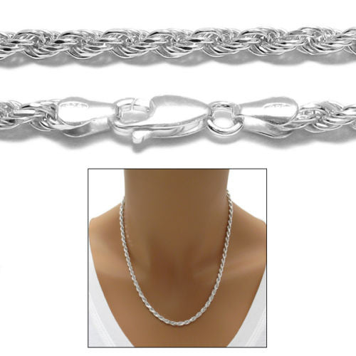 925 Sterling Silver 3.5mm Diamond-cut Rope Chain Necklace 7-30