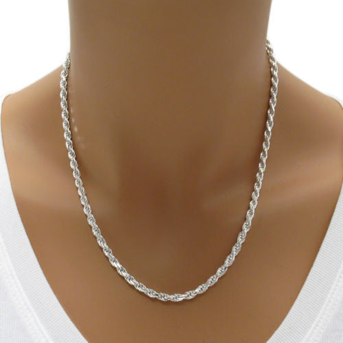 d44f7a2f92c9b Sterling Silver Diamond Cut Rope Chain Necklace 3.0mm (Gauge 070).  Available in 6 Lengths.