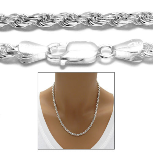 Cut Rope Chain Necklace 2mm 925 Sterling Silver Rhodium Dia 040 Gauge
