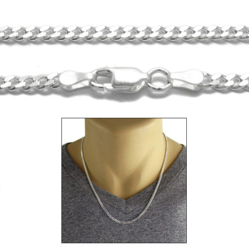 925 Sterling Silver Cuban Curb Chain Necklace 3mm 080 Gauge