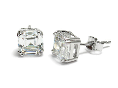 efd18a1e8 Simplistic 1.5 Carat Asscher Cut CZ Post Earrings in 5mm | Wholesale Sterling  Silver Jewelry
