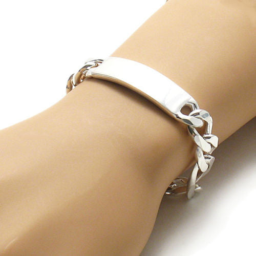 Sterling Silver 13mm Engravable Figaro Chain Id Bracelet