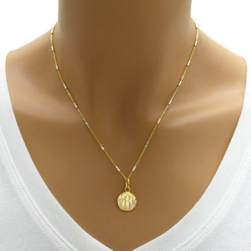 73d141e54f5 ... Lovely 14K Gold Plated Over Round Pendant Necklace - 2 Lengths |  Wholesale 925 Sterling Silver; Engraving ...