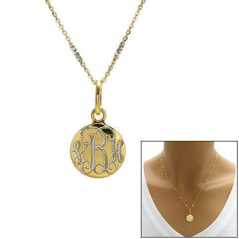 Engravable pendants and tags wholesale page 2 925express lovely 14k gold plated over round pendant necklace 2 lengths wholesale 925 sterling silver mozeypictures Gallery