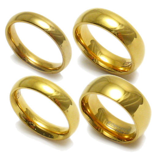 14K Ion Plated Stainless Steel Wedding Band In Glossy Finish. Wholesale  316L Stainless Steel Rings