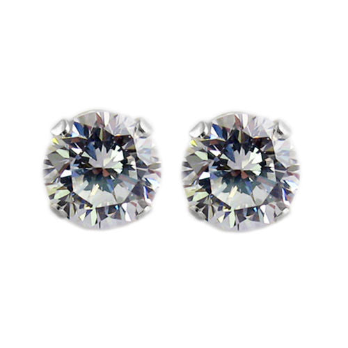 464727ba9 2.0 Carat Round CZ Post Stud Earrings in 7mm | Wholesale Sterling Silver  Jewelry | Main ...