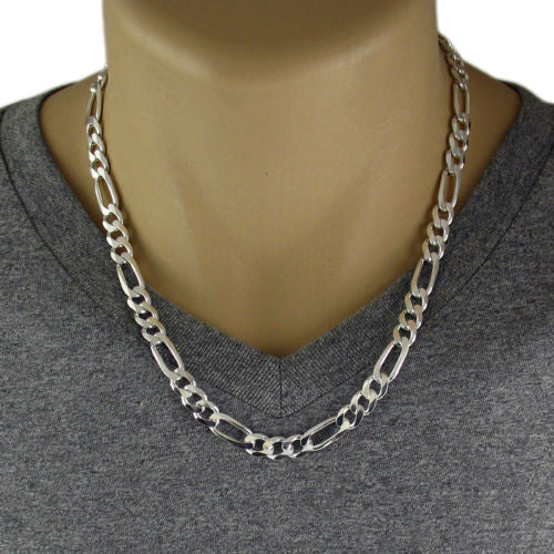 8mm Figaro 925 Sterling Silver Necklace Chain Silver