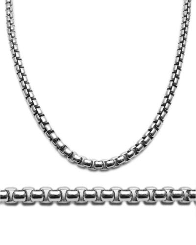 Sterling Silver Rhodium Plated Round Box 5mm Chain Necklace//Bracelet