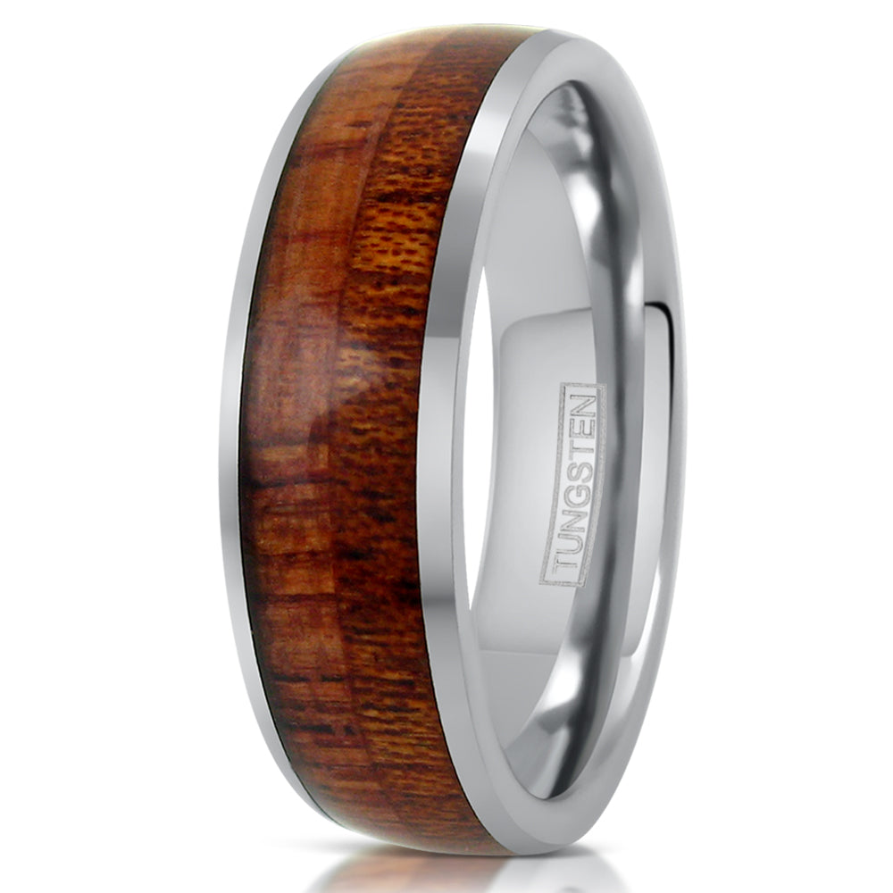 Silver Tungsten Ring W Natural Wood Inlay Wholesale