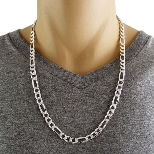 Sterling Silver 18 Quot 30 Quot Pave Cut Figaro Link Chain