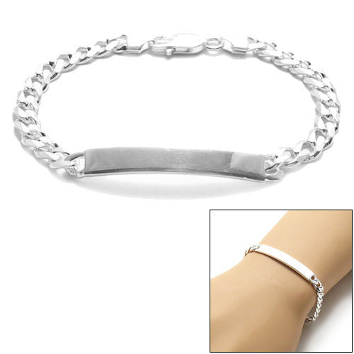 Sterling Silver Childrens Medical ID Bracelet w// Curb Link Chain