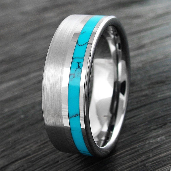 8mm Silver Tungsten Flat Band Ring W Off Center Turquoise
