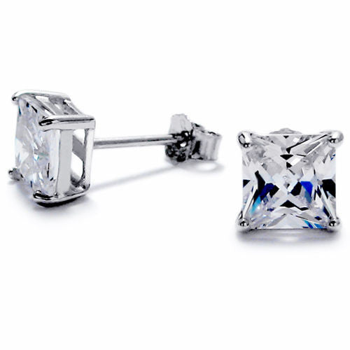 032cd8be9 8mm Princess Cut Square 2.00 Carat CZ Post Stud Earrings | Wholesale Sterling  Silver Jewelry ...
