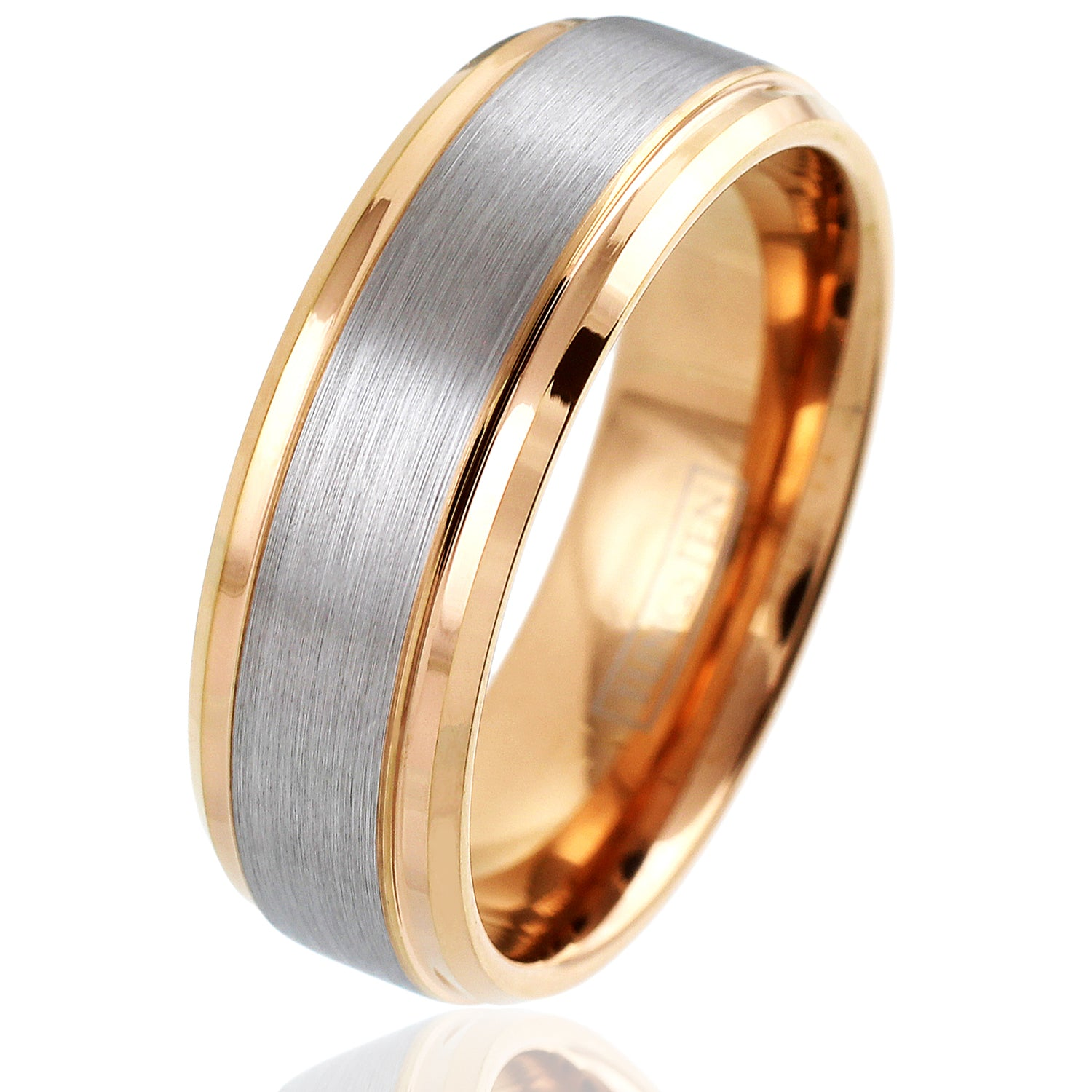 It is just an image of Gorgeous Rose Gold Tungsten Ring with Satin Finish Silver Outer Band & Polished Stepped Edges. Sized for men and women.
